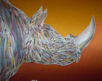 """Batik Painting. Original. Art. Hand painted. Unique item. Silk. Painting """"Rhino"""". Unique Gift. Home Decor"""