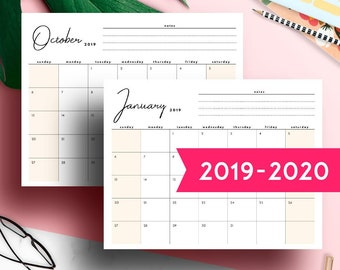 2019 Desk Calendar Monthly Planner 2018 2019 A3 Desk Etsy