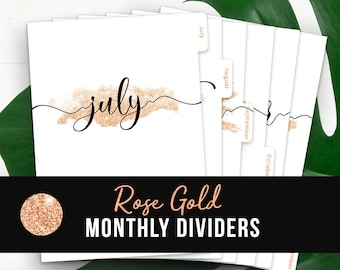 Rose Gold Monthly Planner Dividers • Printable Tabbed Filofax Monthly Dividers A5 Monthly Planner Insert Printable Dividers A5 Monthly Tabs
