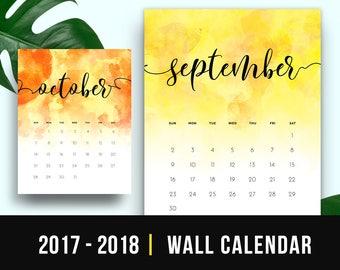 2018 Watercolor Calendar Monthly Printable 2017 2018 Printable Calendar PDF Wall Calendar Watercolor Monthly Calendar Printable Download