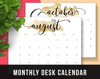 2017 Monthly Planner Glitter • 2017 Printable Monthly Planner 2017 Calendar Glitter 2017 Calendar Gold 2017 Printable Desk Calendar Glitter