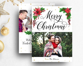 Christmas Card Template Photoshop Photographers Photo Etsy