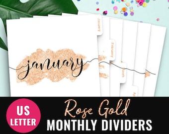 Binder Dividers Arc Planner Dividers Circa Monthly Planner Dividers TUL Tabbed Dividers Inserts Big Happy Planner Dividers Rose Gold Tabs
