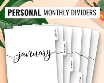 Personal Planner Dividers Personal Dividers Monthly Dividers Filofax Personal Inserts Dividers