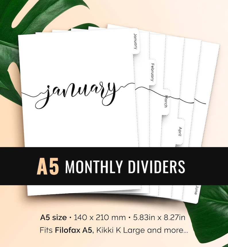 photograph relating to Printable Dividers called A5 Month-to-month Planner Dividers Printable Tabbed Filofax Month-to-month Dividers A5 Month to month Planner Increase Printable Dividers A5 Regular Tabs Filofax
