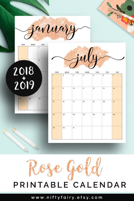 2019 Printable Calendar 2019 Monthly Planner 2019 Desk Etsy