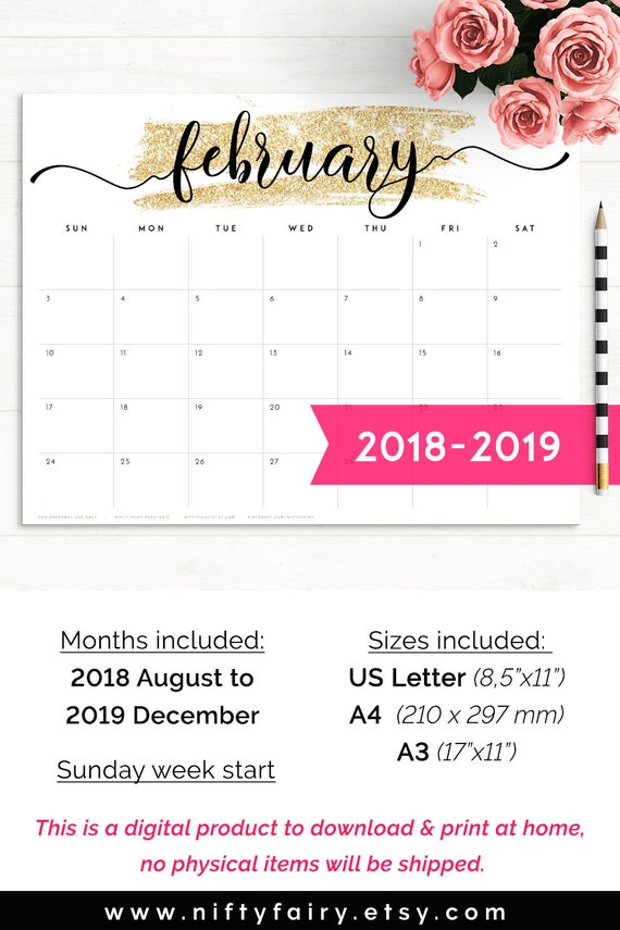 2019 Desk Calendar Monthly Planner 2018 2019 A3 Desk Etsy