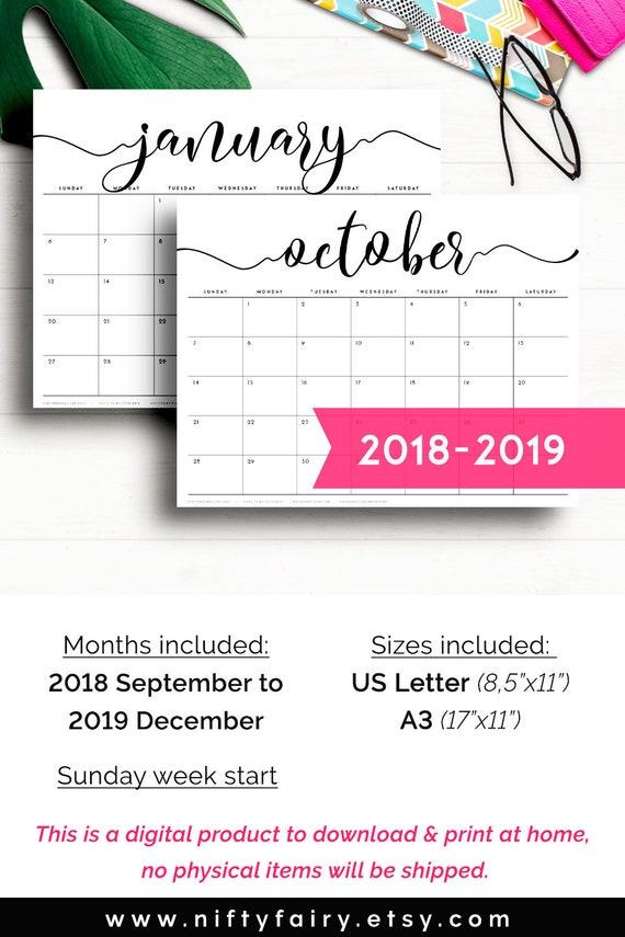 Desk Calendar 2019 Printable Calendar 2019 Monthly Planner Etsy