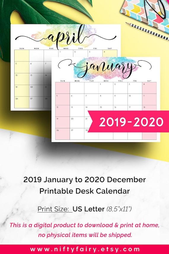 Can Calendrier 2020.2020 Desk Calendar 2020 Monthly Planner 2019 2020 Printable Calendar Desk Planner Printable Monthly Calendar 2020 Girlboss Calendar