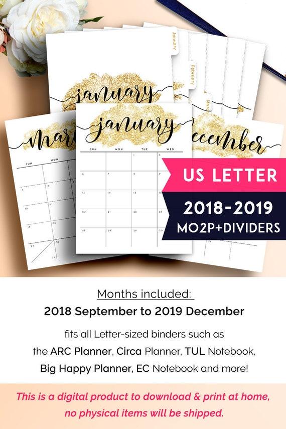 Binder Dividers Planner Dividers 2019 Planner Insert Arc Etsy