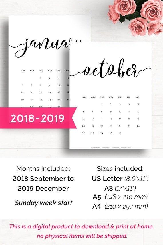 Printable Calendar 2018 2019 Wall Calendar 2019 Monthly | Etsy