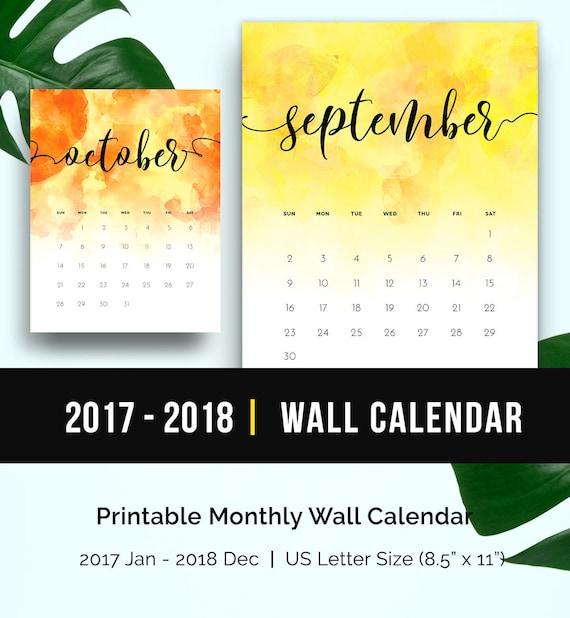 2018 watercolor calendar monthly printable 2017 2018 printable etsy