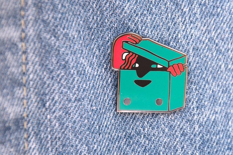 Boxy lady enamel pin by megan de vos badge hard enamel etsy