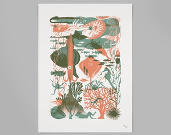 Deepsea screenprint by Megan   Handmade Silkscreen print poster with ocean print