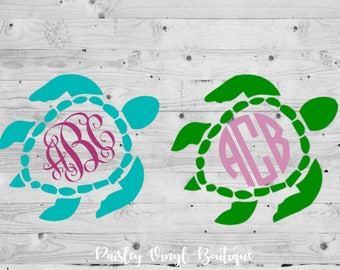 Monogram Turtle Decal, Yeti Turtle Decal, Sea Turtle Decal, Monogram Sea Turtle Decal, Turtle Car Decal, Sea Turtle Car Decal