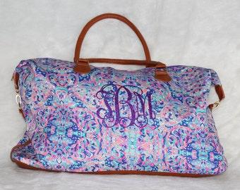 Lilly Pulitzer Inspired La Playa Inspired Weekender Tote Bag