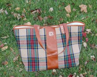 Monogram Plaid Tote Bag
