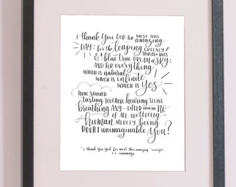 ee cummings poem i thank you god for most this amazing modern calligraphy hand lettered printable art instant download 8x10 5x7