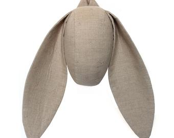 Animal Head, Nursery Decor, Natural Linen, Bunny Head Wall Hanging, Animal Head Wall Hanging