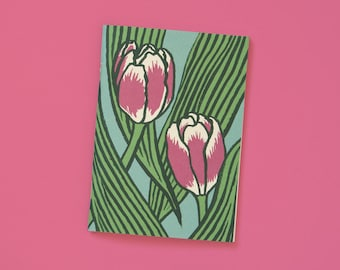 Memo Pink Tulips – A6, 48 pages, blank