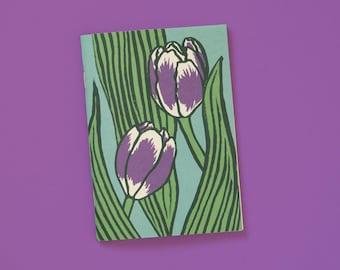 A6 Notebook blank Purple tulips