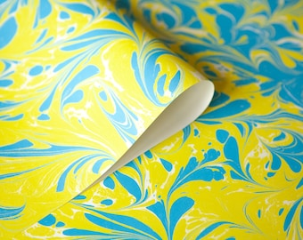 Gift wrapping paper with marbling in cyan and yellow 3 sheets