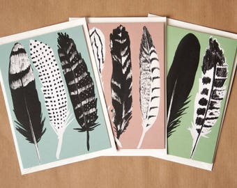 Set of 3 Greeting Cards Feathers