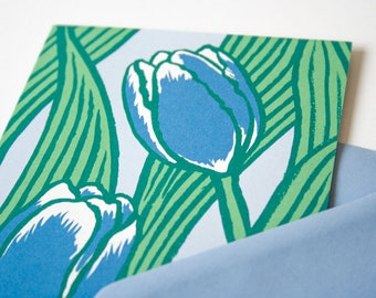 Greeting Card Tulips in Blue