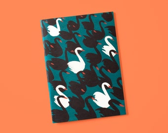 Notebook A5 with swans petrol
