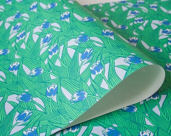 Tulips Wrapping Paper 3 Sheets in Blue