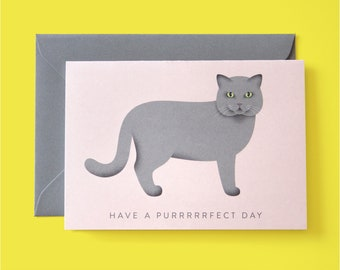 """Greeting card with cat """"Have a purfect day"""""""
