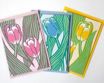 Set of 3 greeting cards tulips