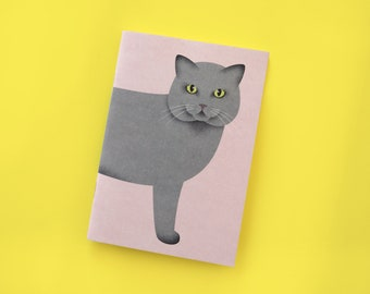 Notebook A6 with cat