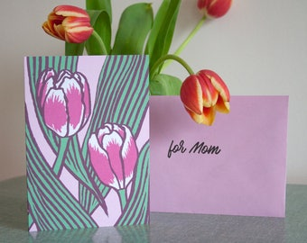 Greeting Card tulips in pink