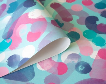 Gift wrapping paper Strokes in blue and pink 3 sheets