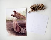 First Spring - postcard pack - print - set of 5 - watercolor painting of a mole -