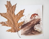 Fall - set of 5 cards - pack - postcard - print - watercolor painting of a fox