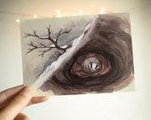 Hibernate - set of 5 cards - pack - postcard - print - watercolor painting of a badger