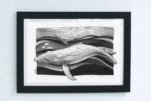 Whale with calf - origina...