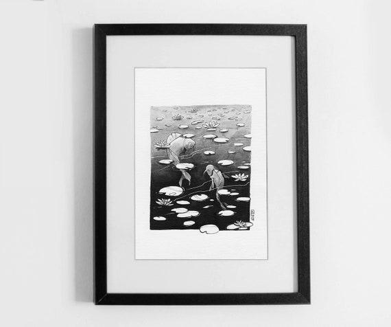 Pond with fish - original...