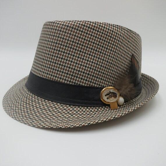 e69c08b5725 Fedora Hat Fine Brown Black Houndstooth   Vintage Race Horse