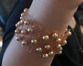 delicate copper knitted wire bracelet cuff with champagne pearl beads and magnetic clasp