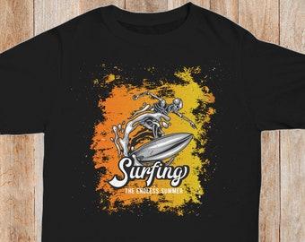 229adca860 Surfing Beach TShirt Endless Summer Tee Surfer Skeleton California Sunset T  Shirt Surfer Gift Beach Bum TShirt