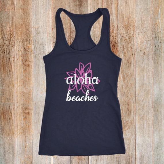 59b8166b14 Aloha Beaches Funny Summer Beach Racerback Tank Top Hawaii | Etsy