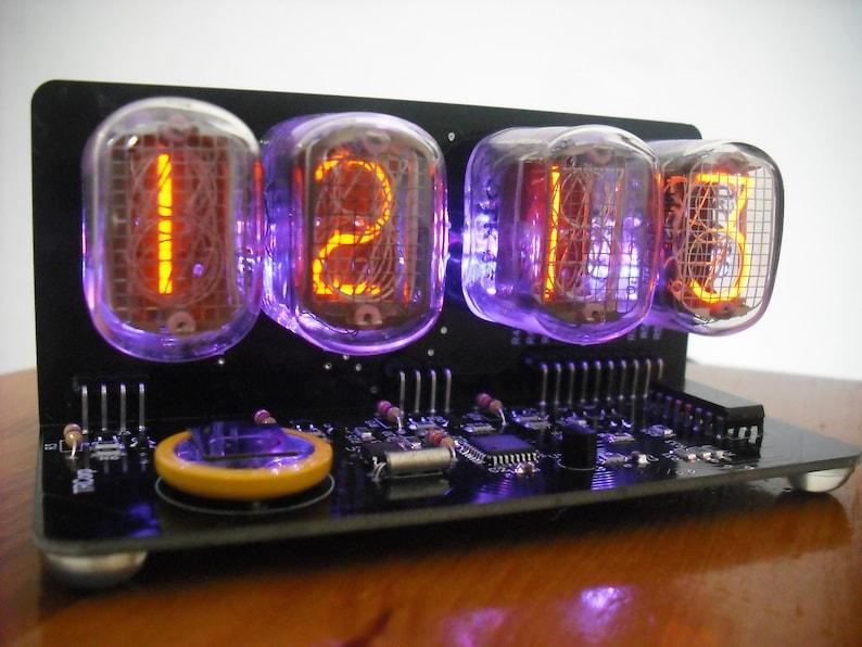 Nixie Tube clock with IN-12 Tube led rgb Backlight Black PCB
