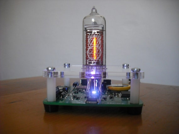 KIT IN-14 Single Digit nixie Clock+Acrylic enclosure RGB Backlight With Tube