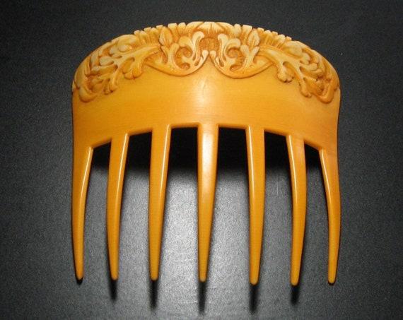 AUGUSTE BONAZ Art Nouveau Hair Comb, Celluloid Hai