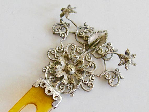 Antique Victorian Sterling Silver Hair Comb 3 Dime