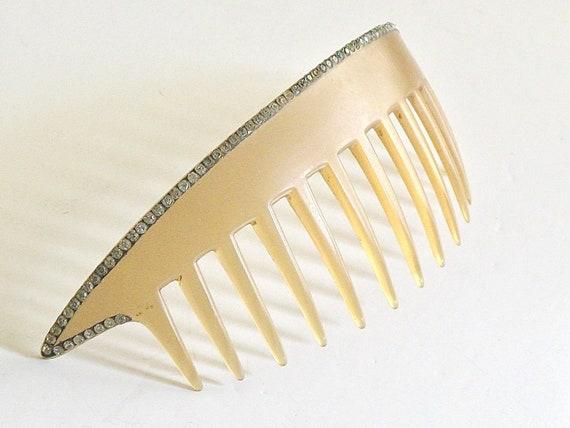 Art Deco Rhinestone Hair Comb, 1920s Flapper Hair