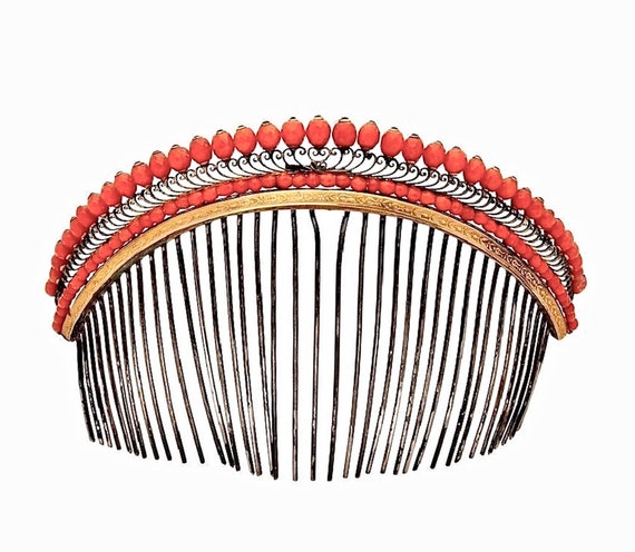 French Empire Coral Diadème Tiara Hair Comb, Georg